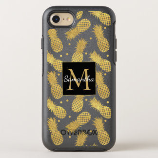 Gold Glitzy Pineapples Monogram OtterBox Symmetry iPhone 8/7 Case
