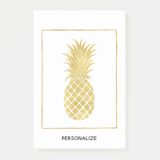 Gold Glitzy Pineapples Post-it Notes