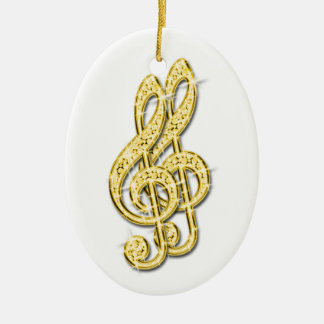Gold Glitzy Sparkly Diamond Music Notes Ceramic Oval Decoration
