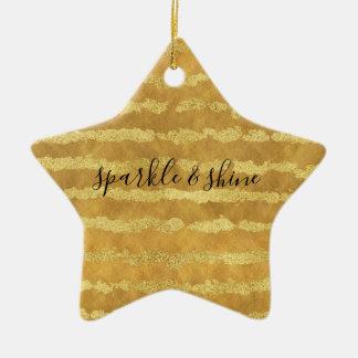 Gold Glitzy Stripes Sparkle Shine Christmas Ornament