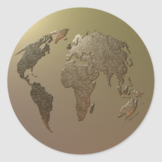 Gold Globe Classic Round Sticker