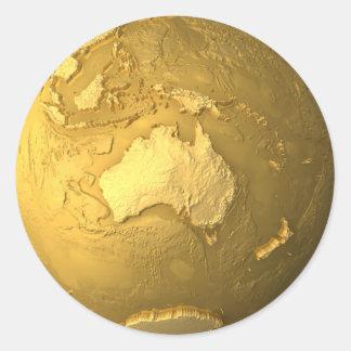 Gold Globe - Metal Earth, Australia, 3d Render Stickers