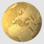 Gold Globe - Metal Earth. Europe, 3d Render Classic Round Sticker