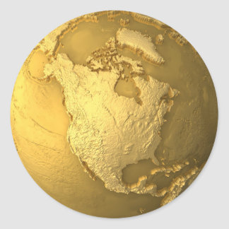 Gold world map stickers labels zazzle uk gold globe metal earth north america 3d render classic round sticker gumiabroncs Gallery