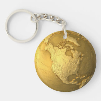 Gold Globe - Metal Earth. North America, 3d Render Double-Sided Round Acrylic Key Ring