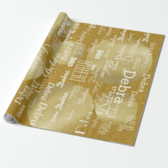 gold golden glitter personalised name pattern wrapping paper