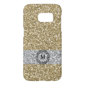 Gold golden silver glitter bling sparkle monogram