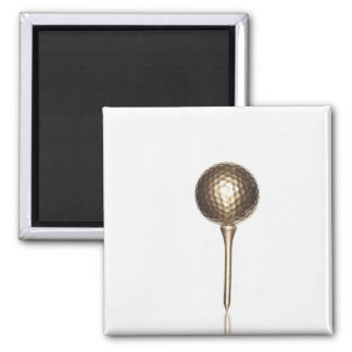 Gold golf ball and tee magnet