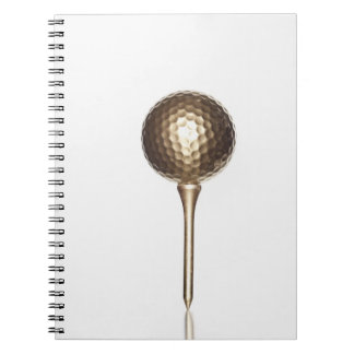 Gold golf ball and tee notebooks