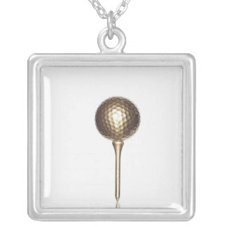 Gold golf ball and tee silver plated necklace