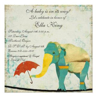 Gold Graceful Elephant Baby Invitation