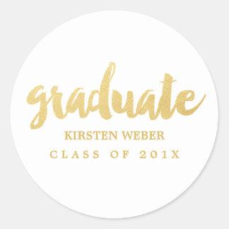 Gold Grad | Graduation Sticker Labels | White