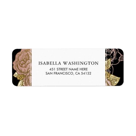 Gold Gradient & Glitter   Rose Gold Floral Wedding Return Address Label