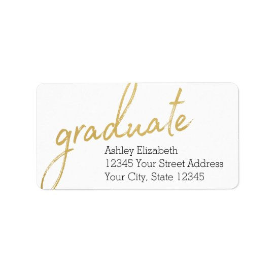 Gold Graduate Modern Graduation Return Address Label