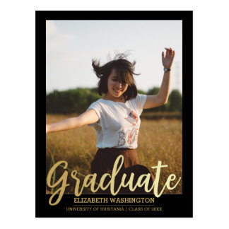 Gold Graduate Typography   Photo Graduation Postcard