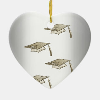 Gold Graduation Caps on Silver Look, Class of 2018 Christmas Ornament
