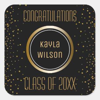 Gold Graduation Party Favor | Congratulations Square Sticker