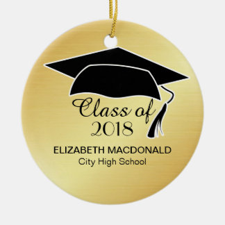 Gold Graduation Sticker Black Mortar Board & Text Christmas Ornament