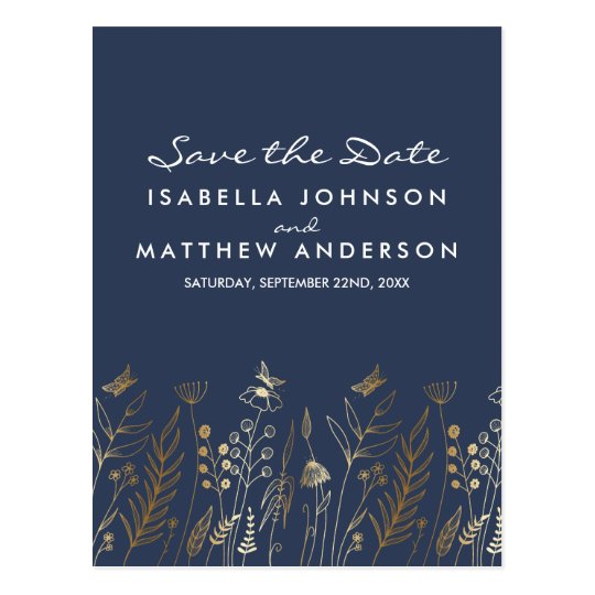 Gold Grasses Butterflies & Navy Save the Date