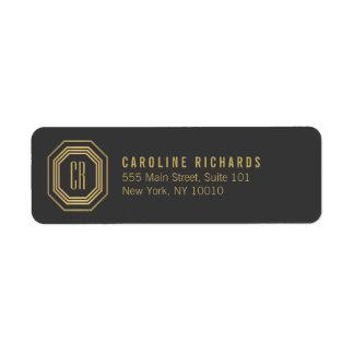 Gold/Gray Art Deco Monogram Return Address Label