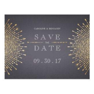 Gold gray art deco vintage wedding save the date postcard