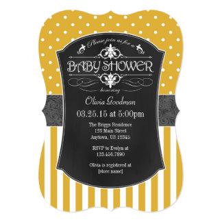 Gold Gray Chalkboard Stripes Baby Shower Invite