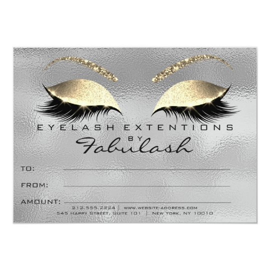Gold Gray Lashes Extension Makeup Certificate Gift Card