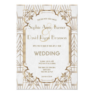 art deco wedding invitations announcements zazzle uk