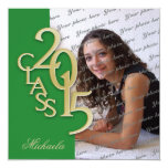 Gold Green 2015 Photo Graduation Invitation 13 Cm X 13 Cm Square Invitation Card