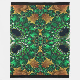 Gold Green and Black Decorative Fleece Blanket