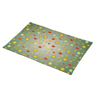 Gold Green and Red Christmas Stars Pattern Place Mats