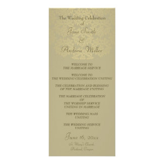 Gold green Beige Damask Wedding Programs Rack Card Template
