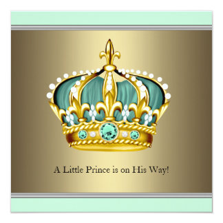 Gold Green Crown Prince Baby Boy Shower 13 Cm X 13 Cm Square Invitation Card