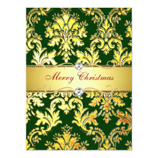Gold Green Damask Christmas  Photocard template 17 Cm X 22 Cm Invitation Card