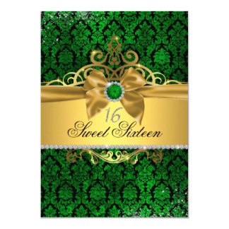 Gold Green Damask Sweet Sixteen Invite