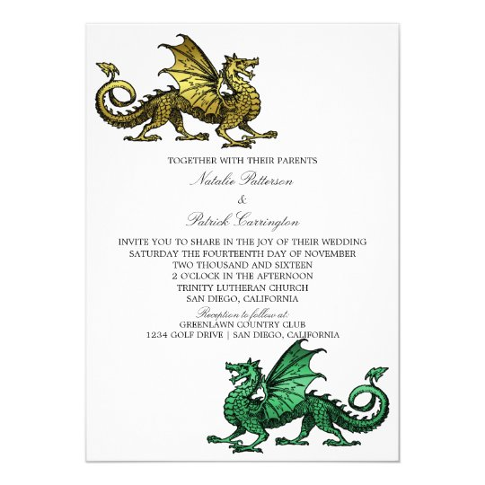 Gold Green Dragon Wedding Invite Zazzle
