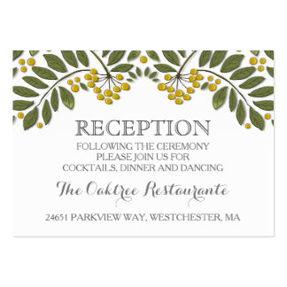 Gold & Green Floral Berries Matching Reception Pack Of Chubby Business Cards