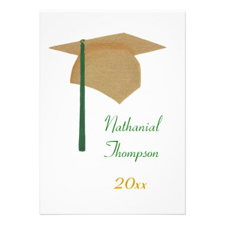 Gold & Green Graduation Cap and Tassel Invitations