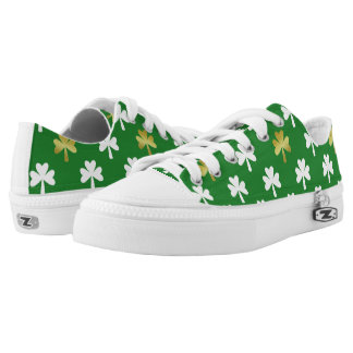 Gold & Green Shamrock Pattern St Patrick's Day Low Tops