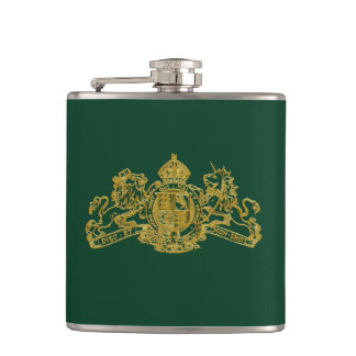 Gold Green Special Agent Issue U.K. Coat of Arms Flasks