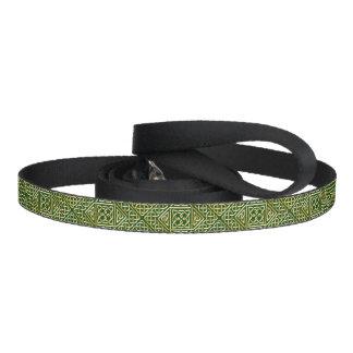 Gold Green Square Shapes Celtic Knotwork Pattern Dog Leash
