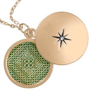 Gold Green Square Shapes Celtic Knotwork Pattern Pendants