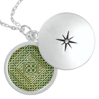 Gold Green Square Shapes Celtic Knotwork Pattern Pendant