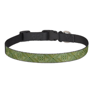 Gold Green Square Shapes Celtic Knotwork Pattern Pet Collars