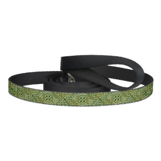 Gold Green Square Shapes Celtic Knotwork Pattern Pet Leash