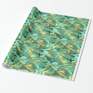 Gold, Green & Turquoise Marbled Pattern Wrapping Paper