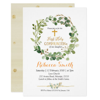 Gold Greenery First Holy Communion Invitation