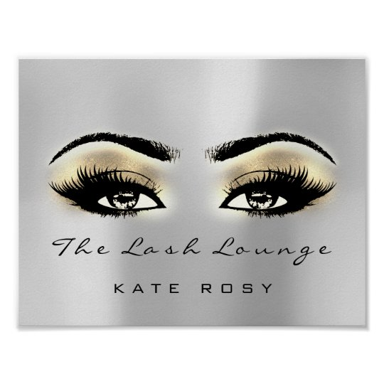 Gold Grey Brown Makeup Artist Beauty Studio Lashes Poster