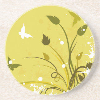Gold Grunge Butterfly Coaster