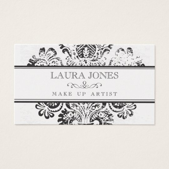 GOLD Grunge Damask Make Up Artist Business Card
